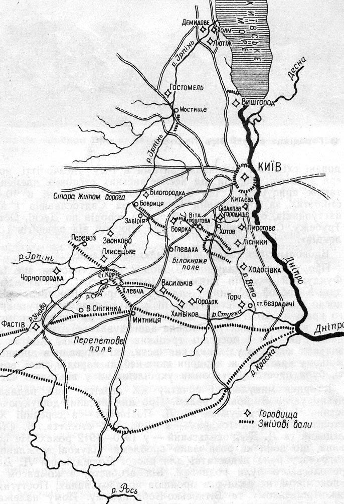 Карта Змиевых валов вокруг Киева